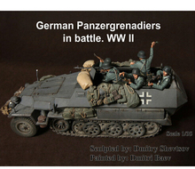 1/35 Resin Kits Scale WWII German Panzergrenadiers In Battle Resin Soldiers (Without Tank) Free Shipping 5 pcs/1 set   resin kit