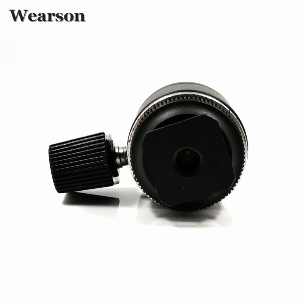 Wearson Camera Ball Head Hot Shoe Mount 360 Degree 14 38 Screw For Canon Nikon DSLR Camera Tripod AdapterLCD Video Monitor (3)
