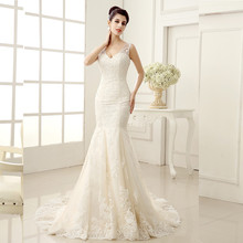 Custom Made 2015 Vestido De Noivas New Design Backless Appliques Lace Up Back Bridal Gown Wedding Dresses With Detachable Train(China)