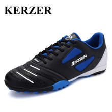 KERZER Sport Football Training Shoes Black/Blue/Orange Soccer Training Shoes Breathable Artificial Turf For Football Boots
