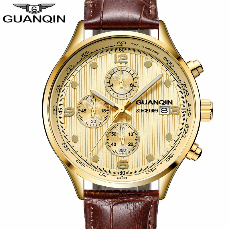 2018 New GUANQIN Top Brand  Men Sport Casual Chronograph Clock Men  Classic Quartz Wristwatches Luxury Chronograph  Watch  men<br>