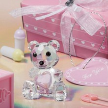 (100pcs/Lot)FREE SHIPPING+Baby Christening Favors and Gift Choice Crystal Collection Teddy Bear Figurines Pink Girl Favor
