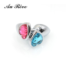 Buy AuReve Hot Sale Smooth Steel Anal Plug Pretty Crystal Heart Shaped Jewelry Metal Butt Plug Sex Toys Men Women Free Shipping