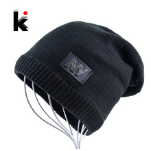 Winter hats for men skullies and beanies knitted wool stocking hat plus velvet hip hop cap thicker keep warm bonnet