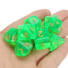 New Arrival 7 Pcs Set Polyhedral Dice Light Green with Bag DnD RPG 4 6 8 10 12 20 D4-D20 Christmas Gifts for TRPG Game Lovers(China)