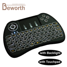 Backlit Wireless Mini Keyboard H9 VS Rii i8 2.4GHz Air Mouse Touchpad for Android TV BOX X92 Laptop PS3 iPad Backlight Gamepad(China)
