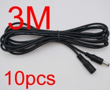 10pcs Power supply DC 5.5 x 2.1mm Female to Male Plug Cable adapter extension cord 3M 10FT for CCTV LED Monitor