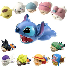 Datakabel Protector Dragon Ball Stitch Luffy Kitty Konijn Hond Telefoon Cartoon Siliconen Opladen Data Oortelefoon Draad Bite Protector(China)