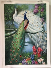 100% handpainted painting animal peacock forest landscape oil painting pure manual oil painting classical handmade oil painting(China)
