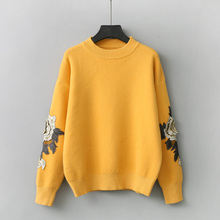 3D flowers stitch embroidery pullover sweater female autumn winter basic sweater loose top 2017(China)