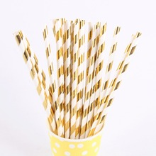 25pcs/lot Gold Striped And Wave Foil Design Paper Straws For Birthday Wedding Party Baby Shower Disposable tableware Supplies