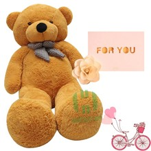 Wholesale-2m Big Teddy Bear Skin Stuffed Animals Bear Dolls With Greeting Card  Soft Plush Toys For Children Birthday Gifts Part
