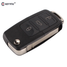 KEYYOU 3 button Folding Car Remote Flip Key Shell Case Fob For VW Passat Polo Golf Touran Bora Ibiza Leon Octavia Fabia
