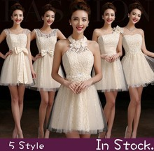 Bride Dress Bridesmaid  Dress 2014 New Fashion Short Design Bow Lace Up Prom Dresses Four styles Red Champagne Free Shipping