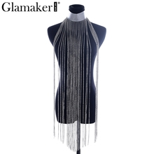 Glamaker Fringe tassels rhinestone choker necklaces pendants Women fashion party sliver jewelry accessories Club cool chain 2017