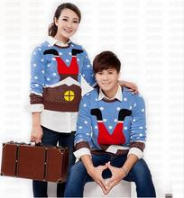 Hot!!!Cute Matching Ugly Christmas Sweaters for Lovers Funny Santa Claus Climbs Chimney Pattern Couple Pullovers Plus Size S-XXL