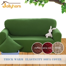 Green Thicken Warm Knitted Sofa Cover Tight Wrap All-inclusive Slipcovers 1/2/3/4 seater Elasticity Chaise Cover 6 Colors