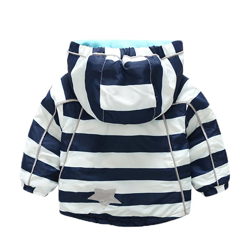 CROAL CHERIE 80-120cm Fashion Star Windproof Striped Jacket For Boys Winter Coat For Girls Children\`s Winter Velvet Clothes (5)