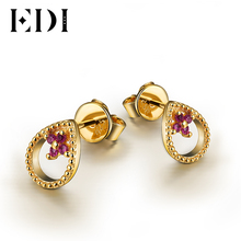 EDI Genuine Natural Ruby Stud Earrings For Women Soild 14K 585 Yellow Gold Fashion Earrings Fine Jewelry Lady Gifts Party(China)