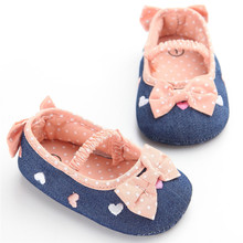 2017 Fashion Baby Girls Navy Denim Princess Shoes Toddler Pedicure Soft Sole Crib Casual Dot Bow Embroidered Heart Shoes