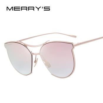 Merry's mulheres óculos de sol da moda clássico marca designer óculos de sol feixe duplo óculos de armação de metal do vintage s'8014