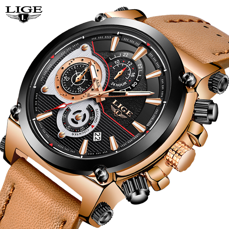 2018 LIGE Mens Watches Top Brand Luxury Quartz Gold Watch Men Casual Leather Military Waterproof Sport Watch Relogio Masculino<br>