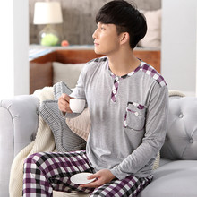 Men Cotton Pajamas Sets Casual Home Clothing Long Sleeve Round Neck Men's Sleepwear Pyjamas Homme Nightclothes FT111(China)