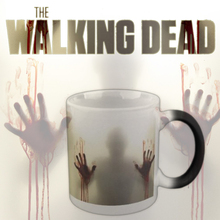 Drop shipping The Walking Dead Mugs Color Change Ceramic Coffee Mug and Cup Fashion Gift Heat Reveal Magic Zombie Mugs 2017