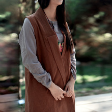 2017 Autumn Dress New Original Design Pure Linen Cropped Vests Are Lined with Pure Literary All-match Women Clothing N433(China)