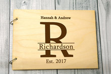 personalized Monogrammed alternative Rustic wedding guest album book engraved Wooden guestbooks Reception party decorations