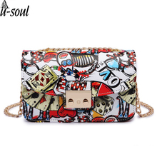 summer graffiti ladies designer handbags women bag chain solid women leather handbags shoulder bag casual woman messenger bags