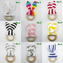 2017 New 20+ Designs Bunny Baby Teethers Crinkle Ear Gold Dot Chevron Training Toy Sensory Wood Teething Ring Baby Dental Care(China)