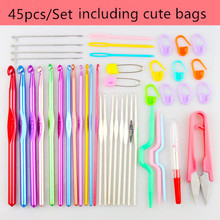 Free shipping 24PCS/27PCS/38 PCS Crochet knitting wool suit tool kit sweater weaving tools Present Pastoral style Storage bag(China)
