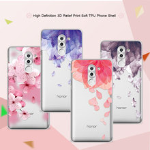 3D Relief Phone Case For Huawei Honor 6X 5.5 inch Floral Cartoon Peach Lace Soft Silicone Back Cover For Huawei Honor 6x Coque