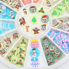 12 colors fimo Nail Art Decoration slice wheel beauty nails accessoires jewelry Manicure DIY Tools christmas stickers for nails