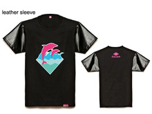 Pink dolphin Leather sleeve t shirts Men's Clothes casual loose tshirt men's tee shirt hiphop t shirts for men Men's Clothing