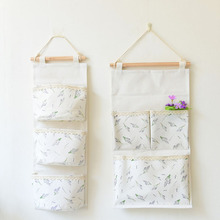 Lavender pure fresh Cotton Linen Hanging Organizers Wall decoration three pocket receive bag(China)