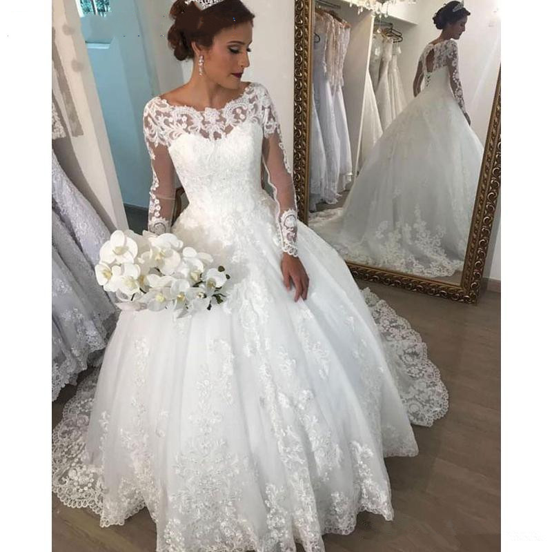 Elegant Scoop Neck Long Sleeve Ball Gown Wedding Dress With Lace Appliques vestido de noiva Wedding Bridal Gowns robe de mariee