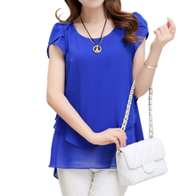 Fashion New 2017 Elegant Women Blouse Chiffon Short Sleeve O Neck Plus Size Women Tops Blouses M-5XL Solid Blusas Feminina