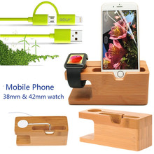 For Apple i Watch 38/42MM Wood Stand+ Golf Cable Phone Charger For iPhone 6 6S 6Plus 5 /For Samsung For LG Luxury Bamboo Holder(China)