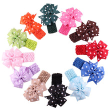 Children Headbands Cloth girl hair band flower Head bows infant Wear Hair Wave Bandeau bow knot kids clips ties hair acessories