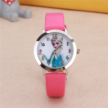 Queen Cartoon Watches ELSA Princess Children Kids Students Girls Leather Quartz Wrist Watch Pink Red White Color Clock relogio
