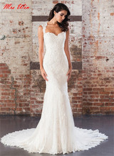 Queen Anne Neckline Sequin Beaded Cotton Lace Appliques Wedding Dress Cap Sleeves Illusion Back Mermaid Bridal Dress 9861