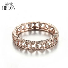 HELON Full Eternity Band 0.1ct Natural Diamond Engagement Wedding Full Eternity Art Deco Ring Fine Jewelry Solid 10K Rose Gold