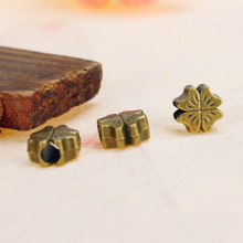 50pcs Ancient bronze  Large Hole clover Charms Beads For European Bracelet Making pendant jewelry accessories diy