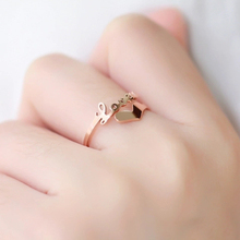 Titanium Steel Top Quality Rose Gold color Opening Letter Love and Heart Rings / Fashion Love Rings in Cheap Price