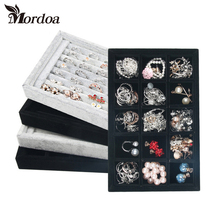Mordoa 2017 Free Shipping,Wholesale New More color Jewelry Rings Display Show Case Organizer Tray Box Shelf Jewelry Display(China)