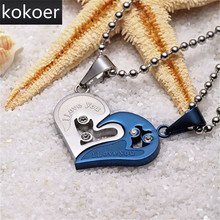 Fashion Heart Key Necklace Pendant Couple Love Forever Wedding Stainless Steel Friends/Girlfriends Jewelry Collier Joyeria Mujer