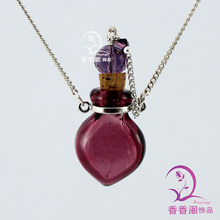 1PCS Murano Glass Perfume Necklace Small Heart ,essential oil bottle pendants, perfume bottle Perfume Bottle Necklace