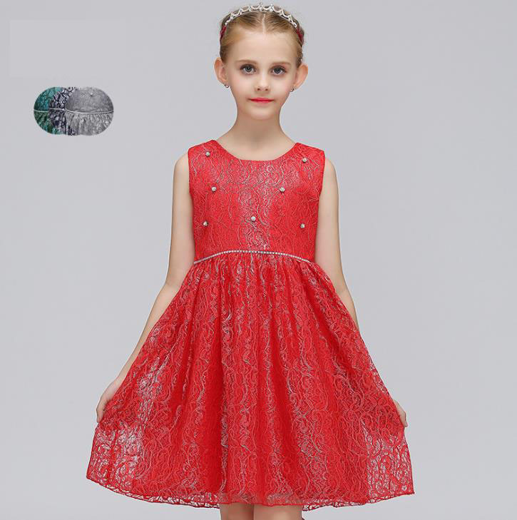 2018 beading sequined Sweet Girls princess dress Flower Girl Dresses new Lace dress program performance clothing ball gown dress<br>